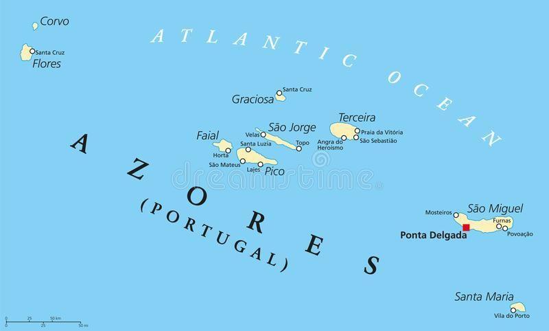 Azoren Karte Portugal.Azoren Portugal Map Karte Von Den Azoren Zu Portugal Europa Süd