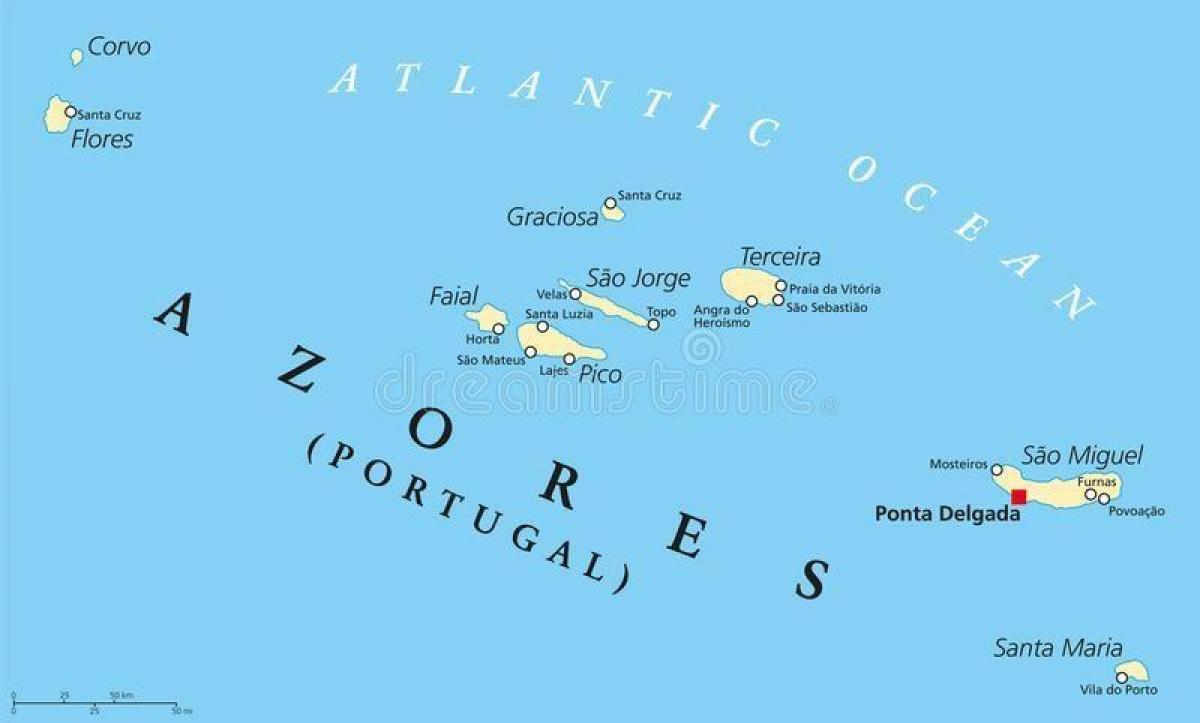 Azoren Karte.Azoren Portugal Map Karte Von Den Azoren Zu Portugal Europa Süd