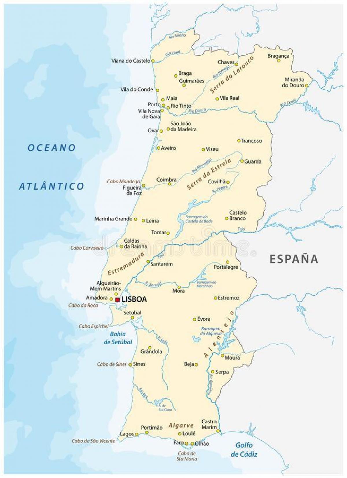 Fluss In Portugal portugal flüsse karte portugal fluss karte europa süd europa