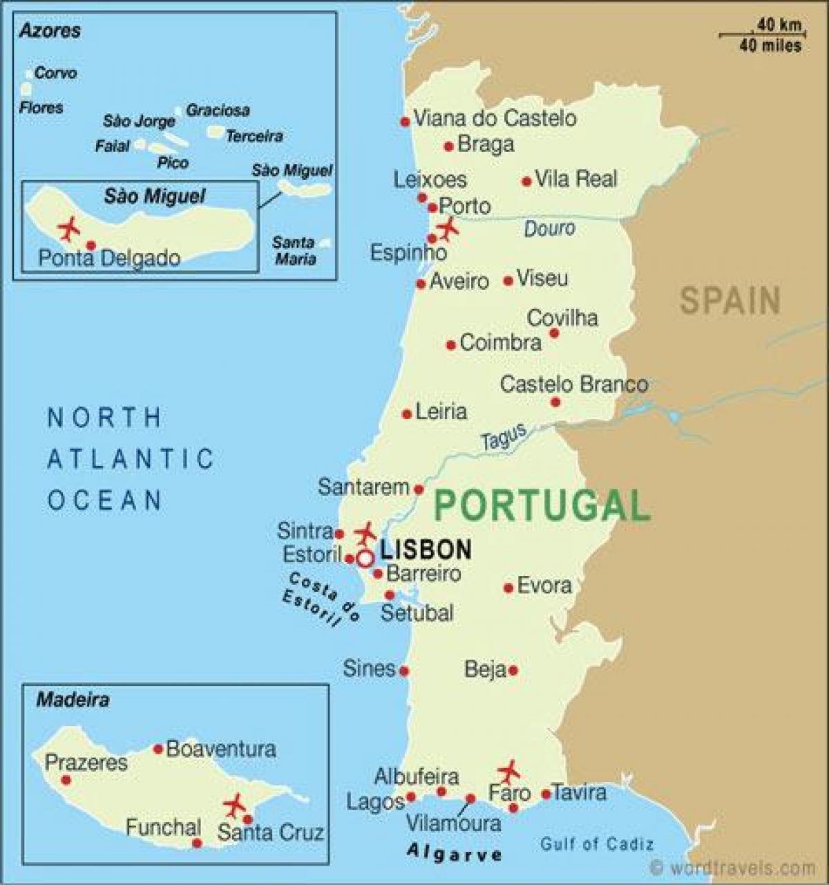 Flughafen Algarve Karte.Portugal Flughäfen Karte Karte Der Flughäfen In Portugal Europa