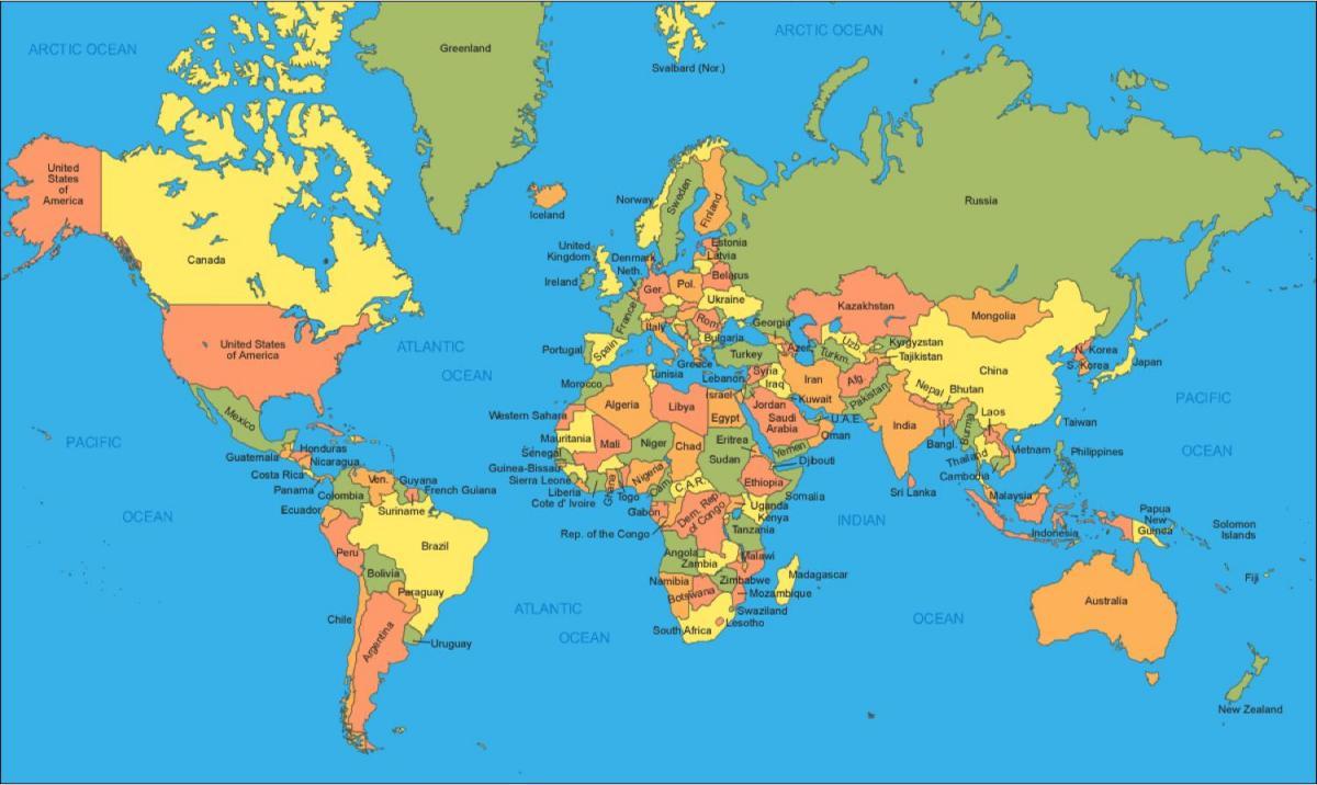 Portugal in world map - Portugal auf der Weltkarte (Europa Süd - Europa)