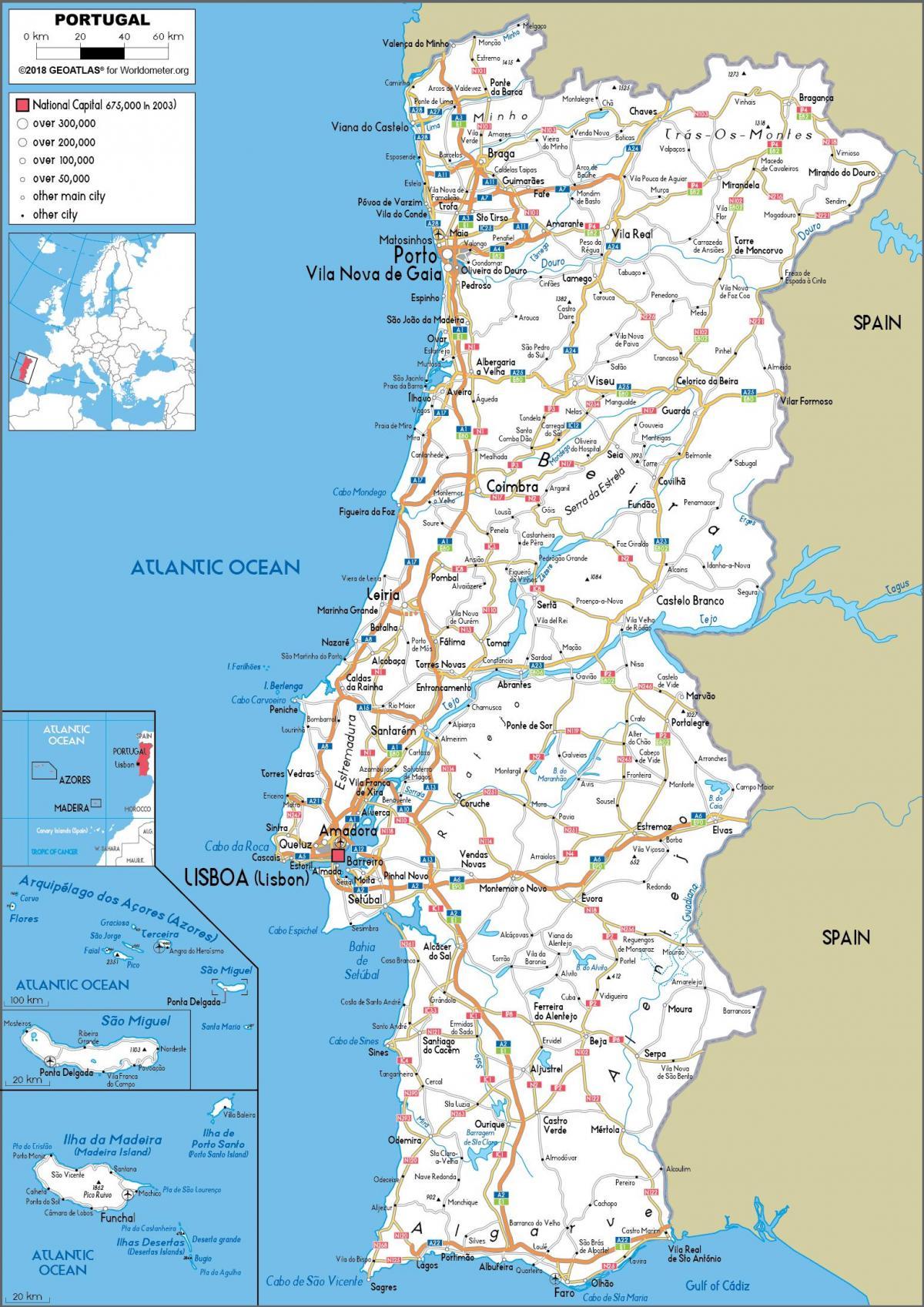 Karte Von Europa Mit Städten.Portugal Cities Map Karte Von Portugal Mit Den Städten Europa Süd